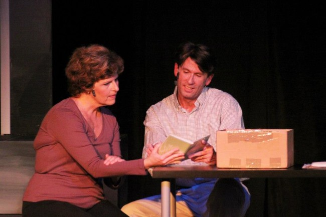 Shannon Wollman (left) as Diane with Darren McDonnell (right) as Dan in Next To Normal at Vagabond Players