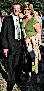 Douglas Lawler (left) and Shannon Wollman (right) in attendance at area actress Heather Beck's wedding circa 2012