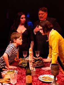 (L to R) Pugsley (Gavin Willard) Morticia (Priscilla Cuellar) Gomez (Lawrence B. Munsey) and Wednesday (MaryKate Brouillet)