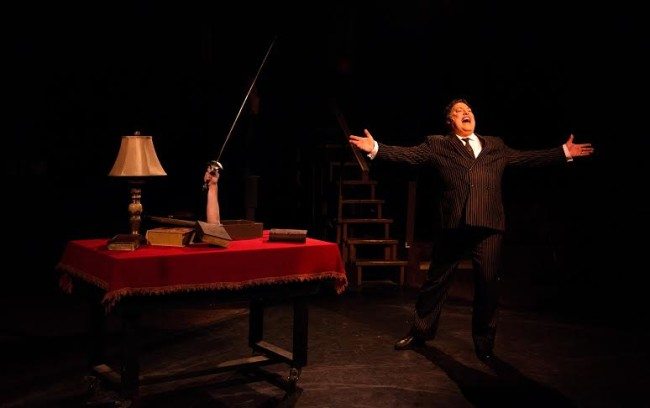 """Lawrence B. Munsey (right) as Gomez Addams singing """"Trapped"""""""
