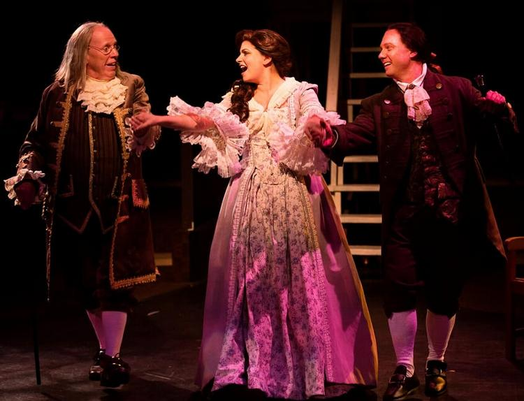 (L to R) John Stevenson as Ben Franklin, MaryKate Brouillet as Martha Jefferson, and Jeffrey Shankle as John Adams