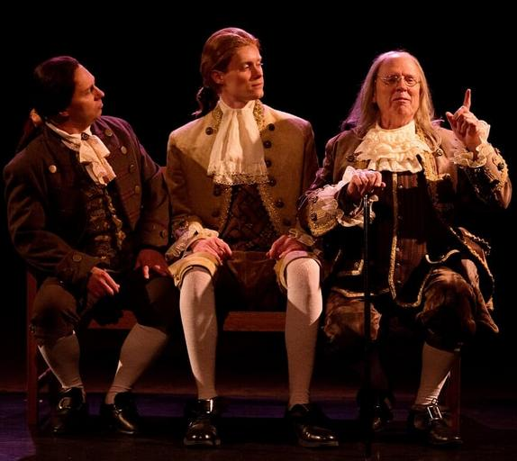 (L to R) Jeffrey Shankle as John Adams, Brendan McMahon as Thomas Jefferson and John Stevenson as Ben Franklin