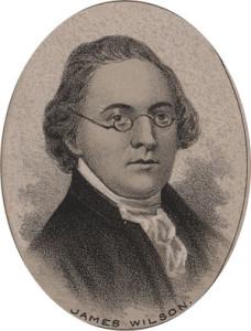 A sketched portrait of Judge James Wilson