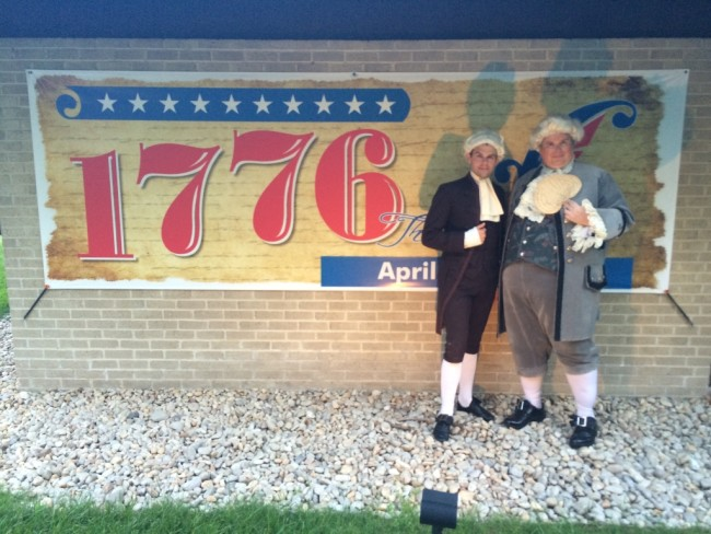 Scott Harrison as Judge James Wilson (left) and Andrew Horn as Samuel Chase (right) in 1776 at Toby's Dinner Theatre