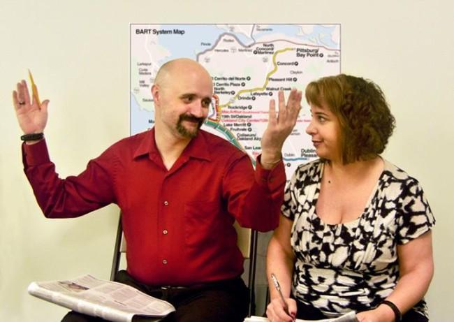 Mike Larson (L) and Rachel Zirkin Duda (R) in 2 Across
