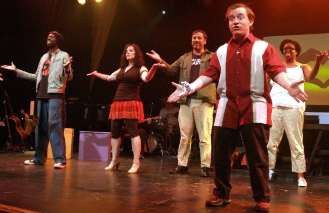 (L to R) Thomas Ogar, Mary Guay Kramer, Richard Greenslit, Matt Wetzel, and Taylor Washington in Godspell at Silhouette Stages