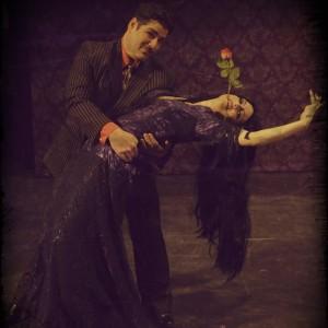 Gomez (L- Vincent Kirk Musgrave) and Morticia (R- Tatiana Dalton) perform Tango De Amor