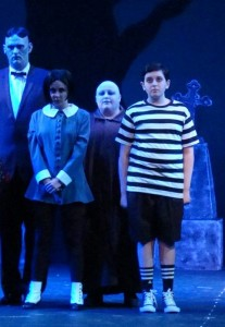 (L to R) Lurch (Mark Lloyd) Wednesday Addams (Allison Comotto) Uncle Fester (Kristen Cooley) and Pugsley Addams (Jules Eihorn)