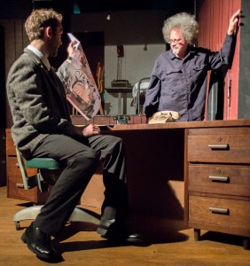 Charlie (L- Nicolas Parlato) and Deucy (R- Jon Swift) in The Business End at Yellow Sign Theatre
