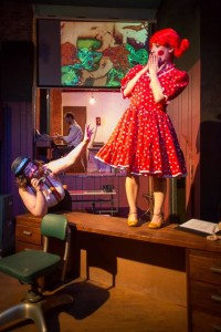 "V. Lee as ""Sally"" (left) and Ann Tabor as ""Maura"" (right) in The Business End at Yellow Sign Theatre"