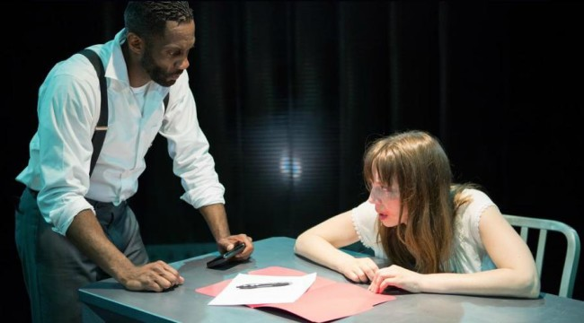 David Lamont Wilson as Man (left) and Sara Barker as Woman (right) in Closet Land at Factory449