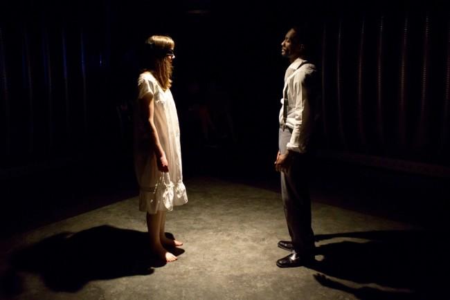 Woman (L- Sara Barker) and Man (R- David Lamont Wilson) in Closetland at Factory449