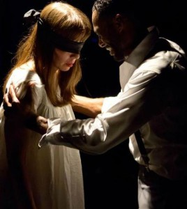Sara Barker as Woman (left) and David Lamont Wilson as Man (right) in Closet Land at Factory449