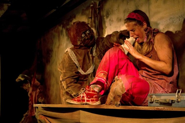 Allison Turkel (left) as Mudman and Ann Fraistat (right) as Her in Dry Bones Rising at Venus Theatre
