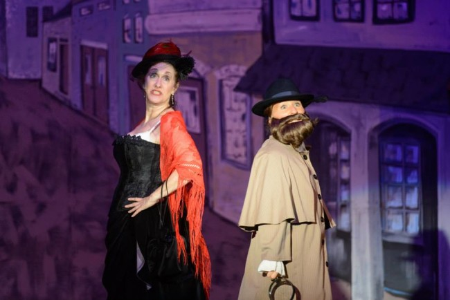 Maribeth Vogel (left) as Princess Puffer and Emily Lentz (right) as Detective Dick Datchery
