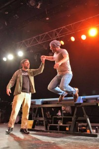 Richard Greenslit as John the Baptist (left) and Andrew Worthington as Jesus (right) in Godspell at Silhouette Stages