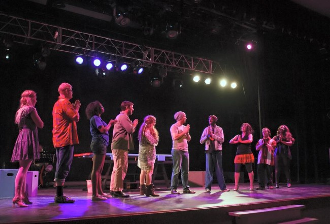 Jesus (C- Andrew Worthington) and the company of Godspell at Silhouette Stages
