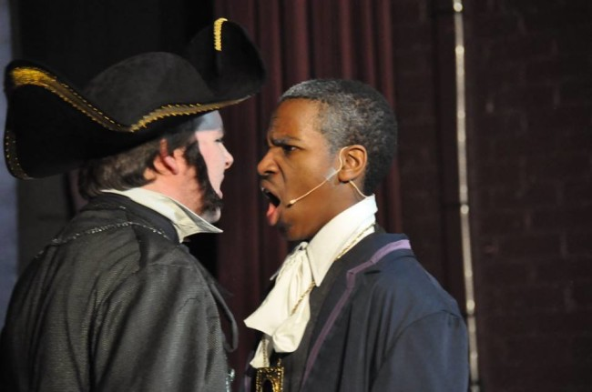Inspector Javert (L- Zach Miller) and Jean Valjean (R- Jonathon O'Neal) face off in the Confrontation