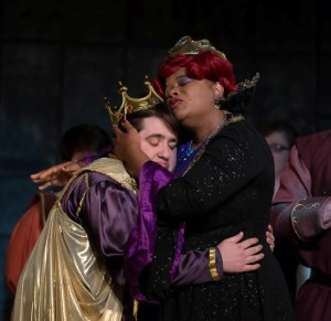 Tommy Malek as Prince Dauntless (left) and Kay-Megan Washington as Queen Aggravain (right) in Once Upon a Mattress