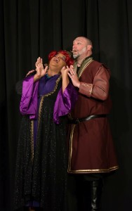 Kay-Megan Washington as Queen Aggravain (left) and Jom Gross as Wizard (right) in Once Upon A Mattress