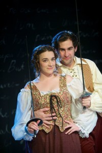 Amy Pastoor as Smeraldina (left) and Patrick Truhler as Truffaldino in The Servant of Two Masters