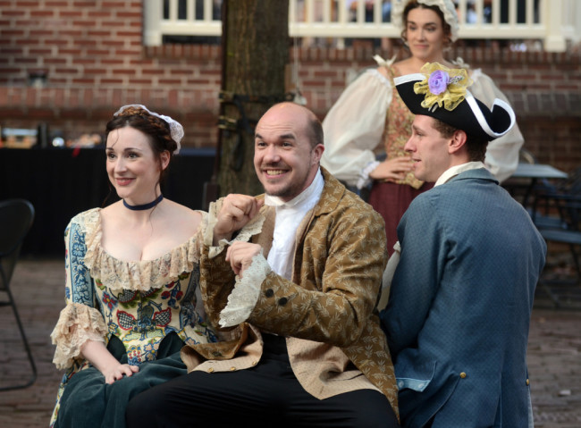 (L to R) Megan Morse Jans as Clarice, Brian Keith MacDonald as Pantalone, Amy Pastoor as  Smeraldina, and Michael Windsor as Silvio in The Servant of Two Masters