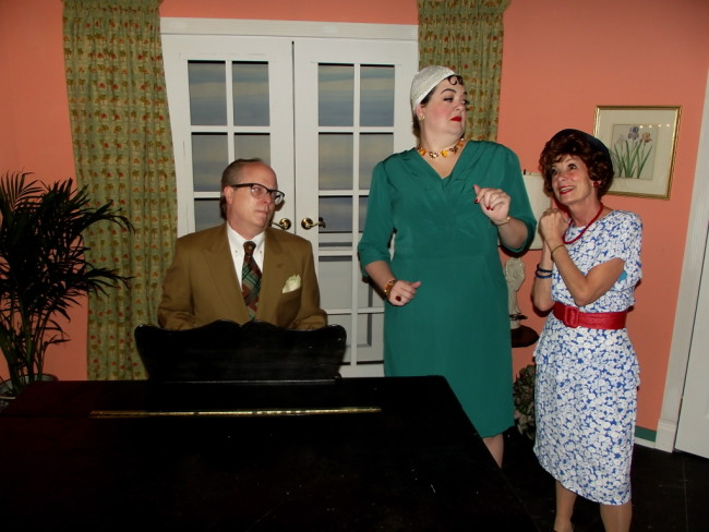 (L to R) Pippet (Paul Berry) Claudia Sinclair (Pamela Northrup) and Mrs. Osgood (Bernadette Arvidson)