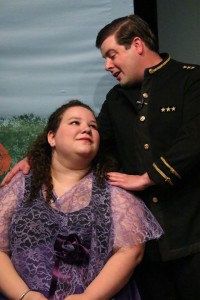 Ashley Lane as Aline, left and David Hill as Alexis, right in The Sorcerer at The Salem Players