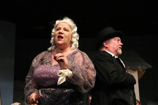 Nat Lane as Lady Sangazure, left and Scott Graham as Sir Marmaduke, right in The Sorcerer at The Salem Players