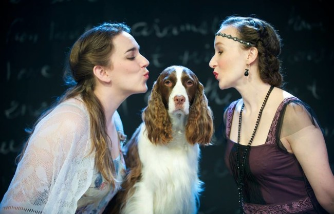 Amy Pastoor (left) as Julia, Julie (center) as Crab the Dog, and Laura Rocklyn (right) as Silvia in The Two Gentlemen of Verona