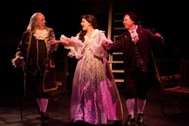 John Stevenson as Ben Franklin (left) with MaryKate Brouillet as Martha Jefferson (center) and Jeffrey Shankle as John Adams (right)