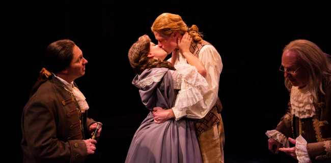 (L to R) Jeffrey Shankle as John Adams, MaryKate Brouillet as Martha Jefferson, Brendan McMahon as Thomas Jefferson, and John Stevenson as Ben Franklin