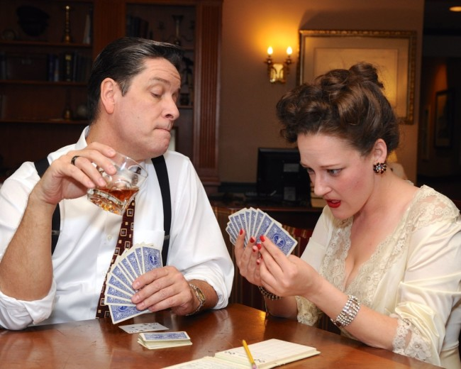 Steven Shriner (left) as Harry Brock and Anne Shoemaker (right) as Billie Dawn in Born Yesterday