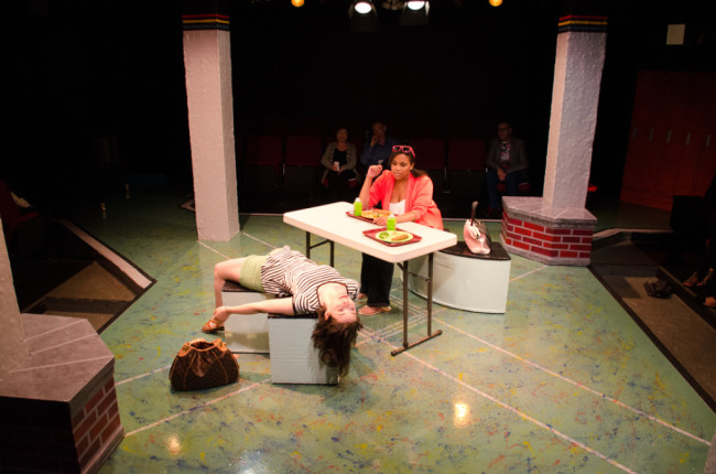 Melanie Glickman (left) as Tricia and April Airriona Jones (right) as Marcy in Dog Sees God at Spotlighters Theatre