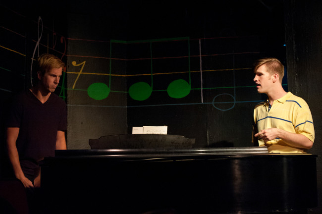 Reed DeLisle (left) as Beethoven and Sean Dynan (right) as CB in Dog Sees God at Spotlighters Theatre