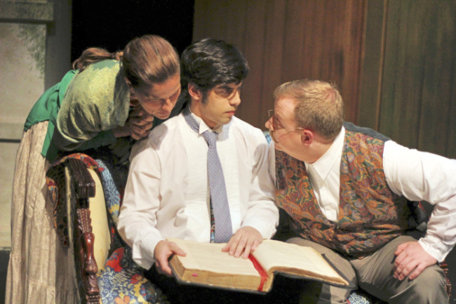 Lenya Zubritsky (L- Kathryn Barrett-Gaines), Leon (C- Dillon DiSalvo) and Doctor Zubritsky (R- Phil Dickerson)