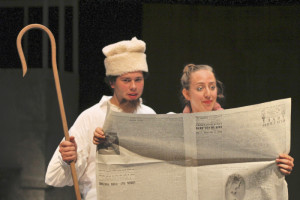 Thomas DiSalvo (left) as Something Something Snetsky and Allison Frisch (right) as Slovitch the Butcher