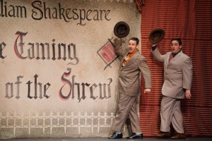 "Josh Hampton (left) as First Man and Michael Iacone (right) as Second Man singing ""Brush Up Your Shakespeare"""