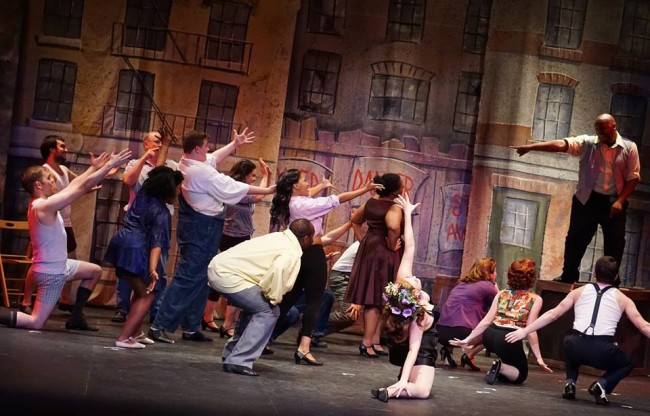"""Paul Shamberger (far right) as Paul and the company of Kiss Me, Kate in """"Too Darn Hot"""""""