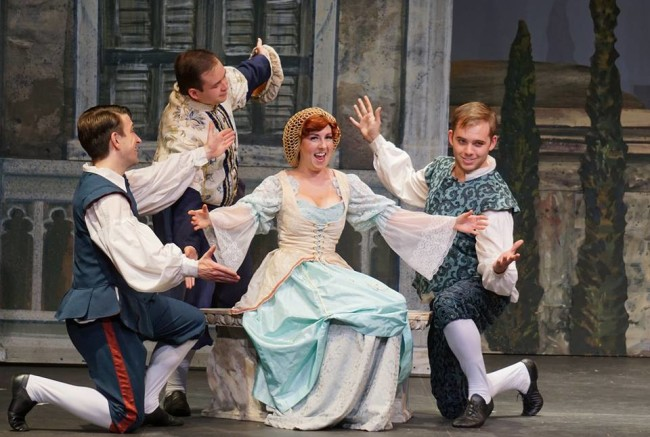 Amy Greco (center) as Bianca, surrounded by Nathan Bowen (left) as Lucentio, Stevie Mangum (above) as Hortensio and Tyler Everett Adams (right) as Gremio