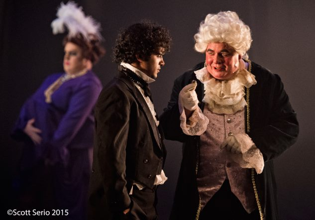 (L to R) Ryan DeVoe as Madam Thenardier, Abu Akki as Marius, and Scott Mason as Thenardier in Les Miserables
