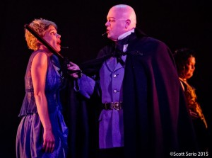 Rebekah Latshaw as Fantine (left) and Lance Bankerd as Inspector Javert (right) in Les Miserables