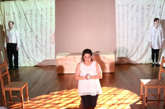 Joseph Coracle (left) Michele Massa (center) and Rebecca Ellis (right) in The Pillow Book at Cohesion Theatre Company