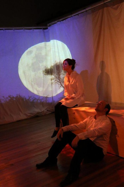 Rebecca Ellis (left) and Joseph Coracle (right) in The Pillow Book at Cohesion Theatre Company