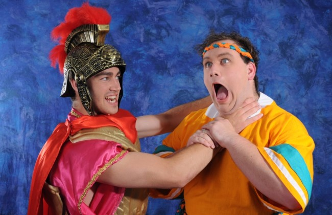 (L to R) Thomas Brady as Miles Gloriousus and Gregory Atkin as Pseudolus
