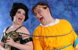 (L to R) Grace Gosnear as Gymnasia and Gregory Atkin as Pseudolus