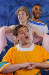 Gregory Atkin (bottom) as Pseudolus, Molly Janiga (middle) as Philia, and Hasanis Allen (top) as Hysterium