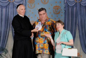 Tim Evans (left) as Fr. Drobney, Chip Meister (center) as Walter Hollander, and Regina Rose (right) as Marion Hollander