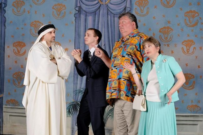 (L to R) Sam Ranocchia as the Sultan of Bashir, Will Poxon as Axel Magee, Chip Meister as Walter Hollander, and Regina Rose as Marion Hollander