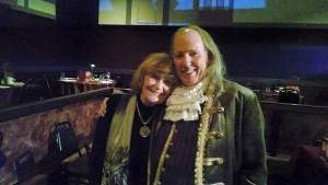 Artistic Director Toby Orenstein (left) with John Stevenson as Benjamin Franklin (right) on opening night of 1776